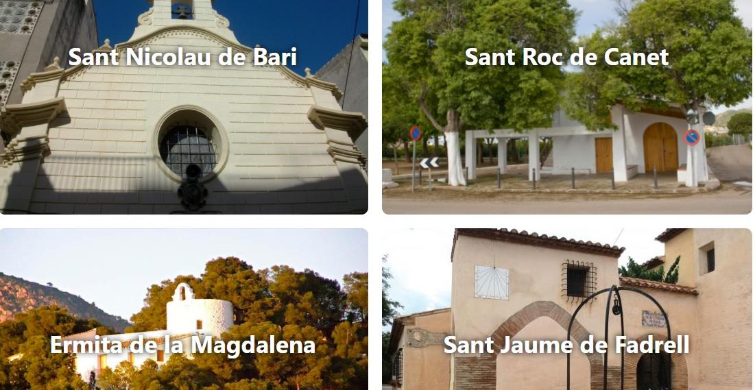imagen de la web con fotografías de cuatro de las ermitas de Castellón con los nombres de cada una sobreimpresos