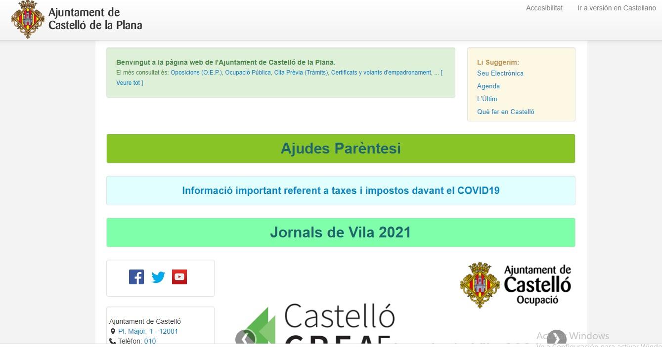Pantallazo de la páguna web del ayuntamiento de Castelló en funcionamiento