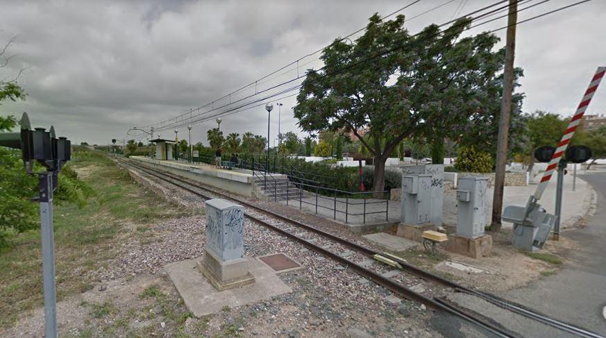 Paisaje con una estación de tren