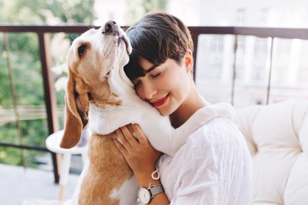 retrato de niña complacida con cabello castaño corto abrazando perro beagle divertido con los ojos cerrados