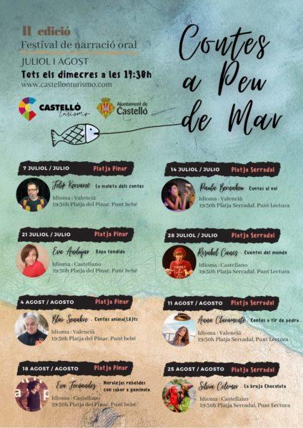 Imagen del cartel con la programación del ciclo 'Contes a peu de Mar' donde aparecen los días horas y cuentacuentos que participan